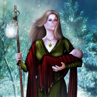 The Goddess of Yule with the newborn God.